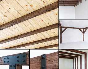 Wooden beams collection 3D