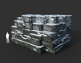 3D model Low poly Snow Ruin Medieval Construction 01