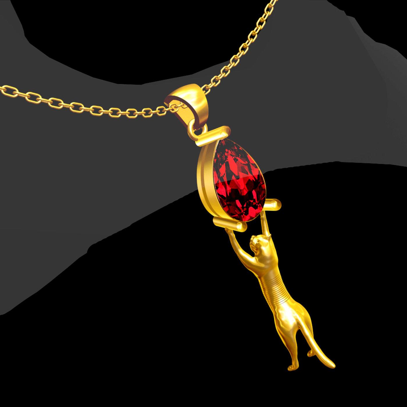 Diamond cat Sculpture pendant jewelry gold necklace medallion 3D print model