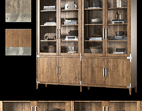 3D model CAYDEN CAMPAIGN 4-DOOR GLASS SIDEBOARD and HUTCH