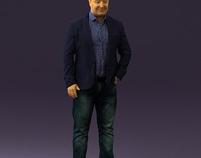 Man in blue jacket and jeans 0447 3D print model