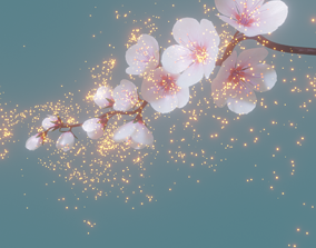 3D model cherry blossom branch animation