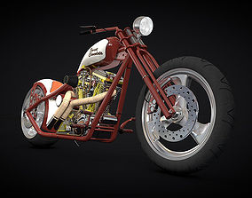 Custom red chopper 3D model