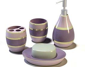 3D Purple Layered Bathroom Set