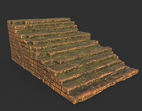 3D asset Low poly Terracotta Ruin Medieval Construction 12