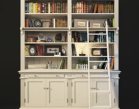 Bookcase with Ladder in White AMANDINE Maisons du 3D model