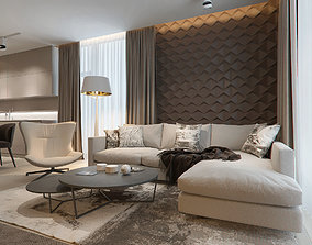 Modern beauty interior design scene 3D model