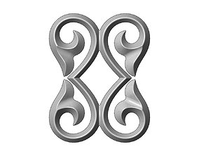 Double floral scroll decoration relief 3D print model