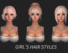 3D model hair style short hair long hair cape dye girl 02