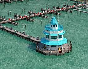 Marina Model of Floating Dock 3D asset