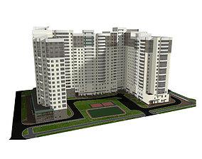 3D Multi-storey residential building with public premises
