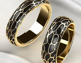3D print model Wedding Golden Rings with Rhodium Plating