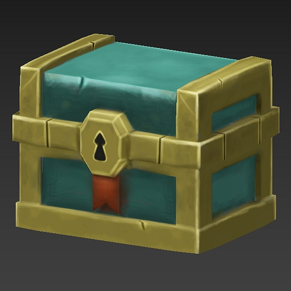Lowpoly Hand Painted Game Chest
