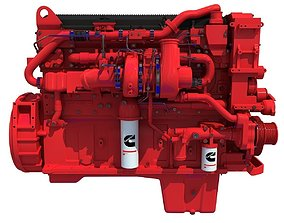 3D model Red Heavy-Duty Diesel Engine Cummins