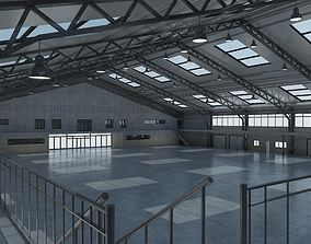 Warehouse interior and exterior 3d model scene