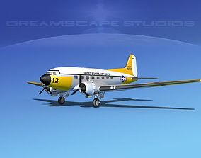 3D model Douglas C-47 Dakota USAF V02