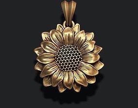 Sunflower pendant 3D print model pendants