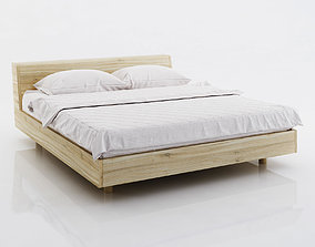 3D White bed linen on wooden bed