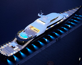 3D model megayacht day and night scenes