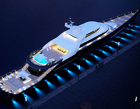 3D megayacht day and night scenes