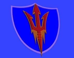 Arizona Sun devils logo on a shield 3D