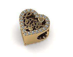 3D printable model stones and heart love written charm