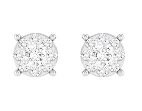 solitaire Women Square Earrings 3dm stl render detail