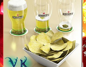 Chips Bowl and Pint of Beer 3D