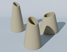 Set of 3 decoration vases for flowers for 3d print