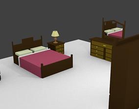 bedroom furniture set 3D asset