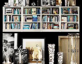 White bookshelf set 3D model