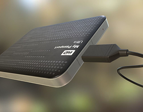 External HDD With USB Cable Rigged WD Version 3D model