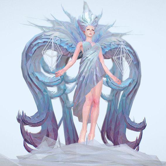 Polygon Art White Angel A Women 3d Model