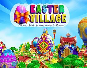 animated 3D Cartoon Easter Village