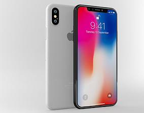 3D Apple iphone X White and Gray