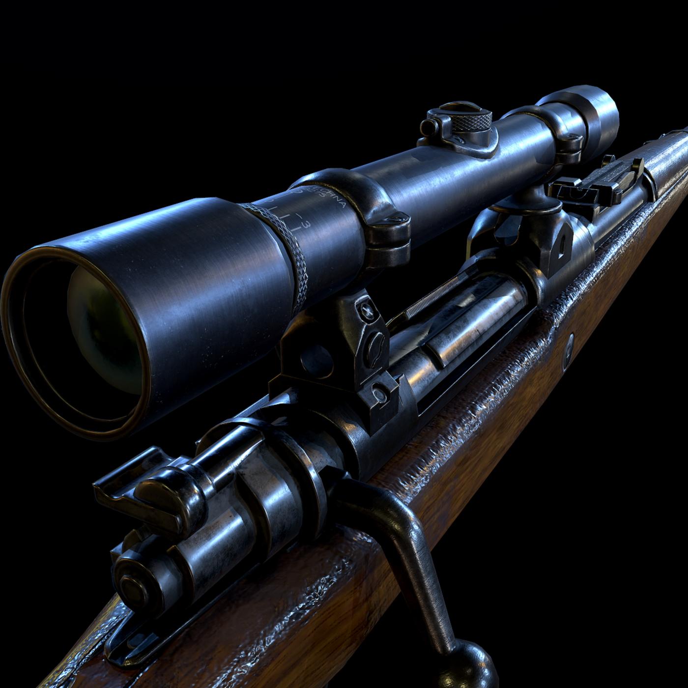 Mauser 98k WW2 german Rifle Kar98k PBR low-poly model