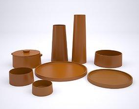 Clay Tableware Set 3D model