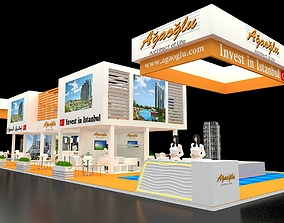 3D Exhibition Stand 1 Booth 30x10m