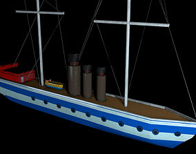 Low poly boat 3D asset low-poly PBR