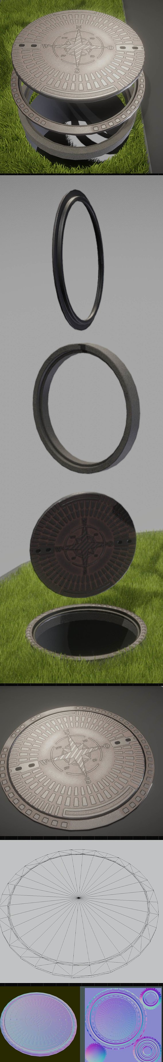 Compass Sewer Cover 4 Rusty Low-Poly Version Low-poly
