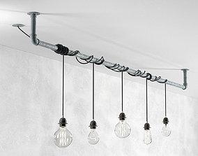 Industrial Hanging Light Bulbs 3D masculine
