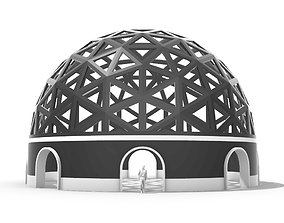 3D model Geodesic Dome Pavilion with Openings Stand 2