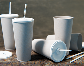 PBR drinking cup with removal lid and straw 3D model