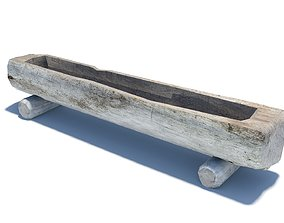 Wooden water trough for cattle 3D asset