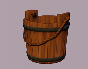 low-poly Stylized Bucket 3D