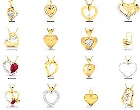27 HEART VALENTINE PENDANT NECKLACE 3D