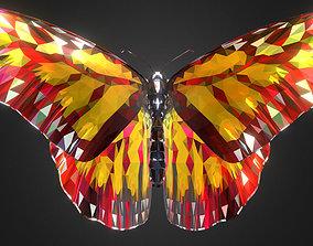Batterfly Yellow Low Polygon Art 3D model