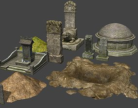 Ancient Chinese Tombs Cemetery Tombstone 3D model