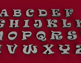 RAVIE font uppercase and lowercase 3D letters STL file
