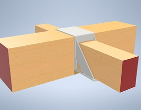 3D asset VR / AR ready Wooden beam console - double